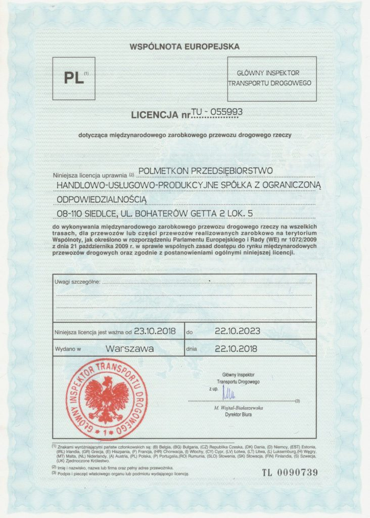 Our Licenses and Certificates